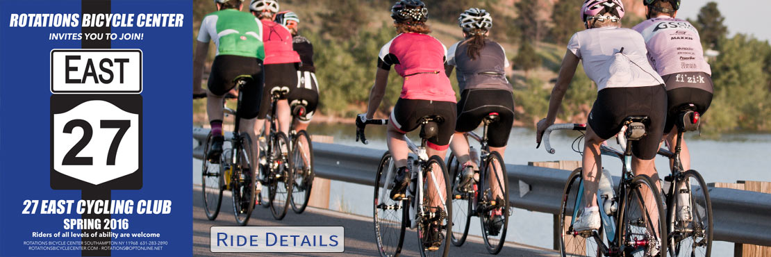 Join Rotations Bicycle Center every Saturday & Sunday for our 27 East Cycling Club ride!